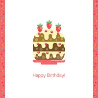 Birthday cake flat icon isolated white background