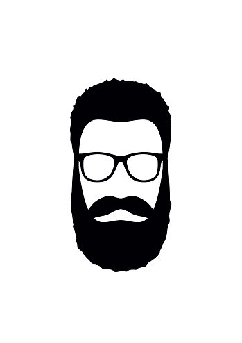 Hipster man icon. Hairstyle, beard and glasses  in flat style.