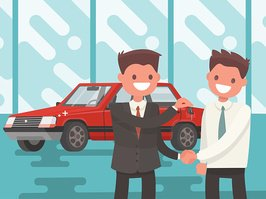 Buying a car. Handing of car keys. Vector illustration