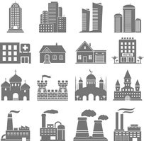 Buildings and factories icons