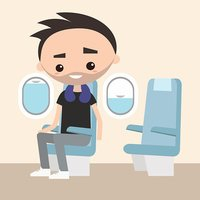 Smiling bearded young adult sitting in the plane