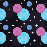 Cosmic seamless pattern background. Planets in open space.