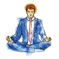 Businessman meditating, watercolor vector illustration, business man meditation in lotus