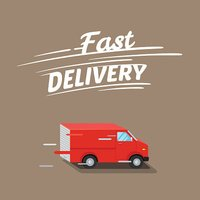 Fast delivery illustration. Typographic inscription of fast delivery.Isometric red van