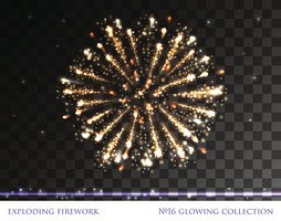 Glowing collection. Isolated Firework, light effects on Transparent background