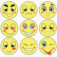 set of emoticons sad, kind, love, happy. vector illustration