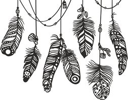 Pattern with decorative feather vector illustration