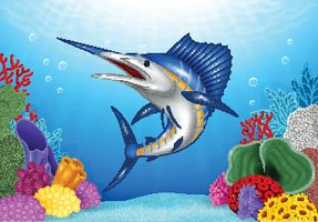 Cartoon Blue Marlin with Coral Reef Underwater in Ocean