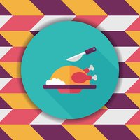 Grill chicken flat icon with long shadow,eps10