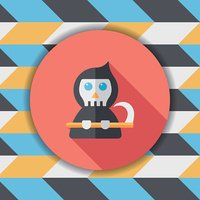 Grim Reaper flat icon with long shadow,eps10
