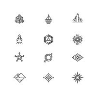 Linear geometric logo elements for business