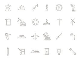 Industry black icons set