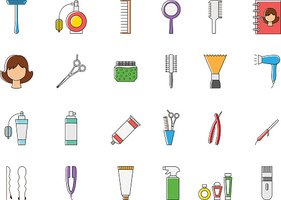 Barbershop colorful vector icons set
