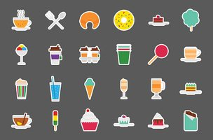 Cafeteria food vector stickers set