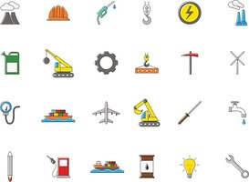 Industry colorful vector icons set