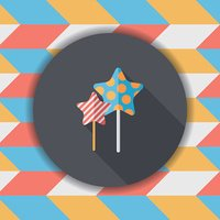 Sweets and candies flat icon with long shadow,eps 10