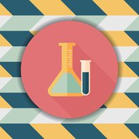 test tube flat icon with long shadow,eps10