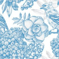 Seamless pattern with different flowers, birds and plants