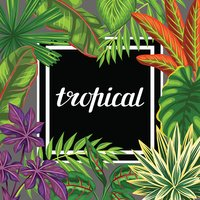 Tropical paradise card with stylized plants and leaves. Image for