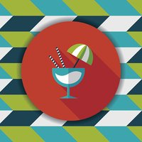 cocktail flat icon with long shadow,eps10