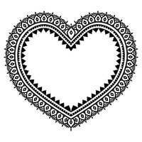 Heart Mehndi design, Indian Henna tattoo pattern