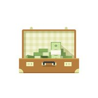 Leather suitcase open full of money vector illustration isolated