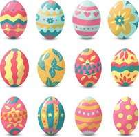 Collection of colorful easter eggs with random holiday pattern