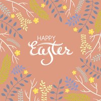 Easter greeting card with frame from floral elements