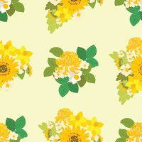 Floral sunflower, narcissus, chrysanthemum background vector illustration