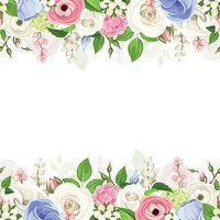 Horizontal seamless background with pink, white and blue flowers. Vector.