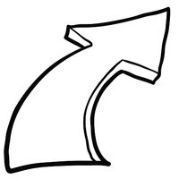 black and white freehand drawing cartoon pointing arrow