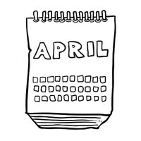 black and white freehand drawn cartoon calendar showing month of