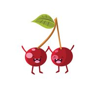 Cherries Cartoon Friends