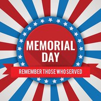 Memorial Day background. Vector illustration with stars, text and ribbon
