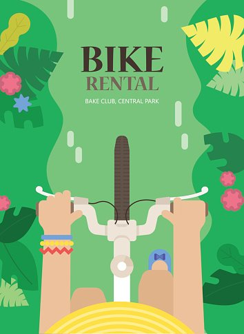 Vector tourist background for bike rental with bicycle and woman.