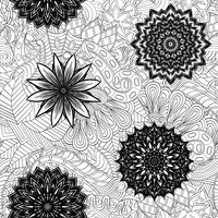 Tracery seamless ornament. Ethnic mehndi curved doodle design. Vector.