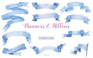 Watercolor ribbons and banners.