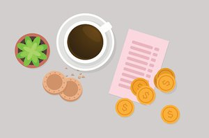 Paying breakfast vector illustration