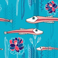 Hand drawn marine seamless pattern with colorful fish Underwater life