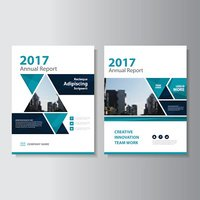 Triangle Blue Vector annual report Leaflet Brochure Flyer template design