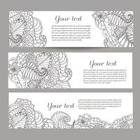 Three vector banners with beautiful monochrome floral pattern in doodle