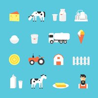 Milk, milk production, cow, plant, icon set.