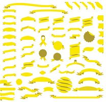Big yellow ribbon set vector illustration
