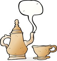 cartoon coffee pot and cup with speech bubble