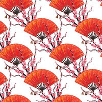 Seamless Japan pattern with Japanese hand fan, sakura cherry blossom