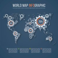 Vector world map business infographics template with gear marks.