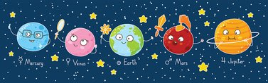 Set of cute cartoon planets