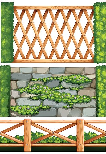Fence design with wooden  and stone
