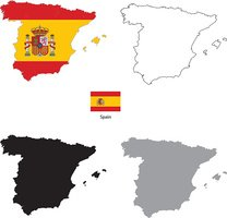 Spain country black silhouette and with flag on background