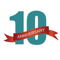 Ten 10 Years Anniversary Label Sign for your Date. Vector